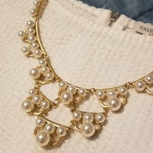 Gold & Faux Pearl Statement Necklace